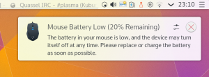 Powerdevil warning about a low mouse battery
