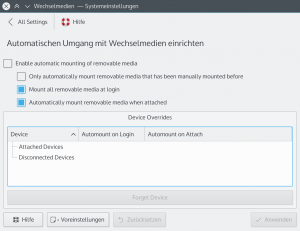 Choose which devices to automatically mount and when