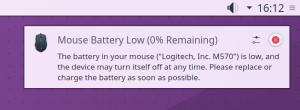 Low mouse battery notification, of course it warns sooner than 0% ;)