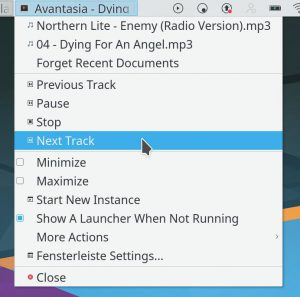 Media Controls in task manager context menu