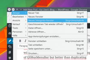 Google Chrome sporting a classy decoration menu button