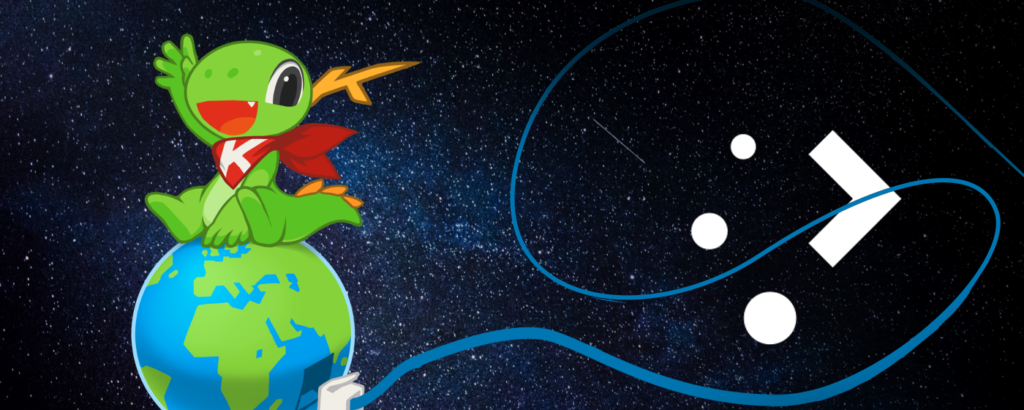 "Dark blue space background with stars, a cute dragon wearing a red bandana with a ""K"" on it, sitting ontop of the Earth which has a blue network cable plugged in whose lose end is squiggling around the KDE Plasma logo"
