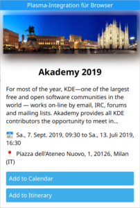 Itinerary browser popup showing detailed information about Akademy 2019