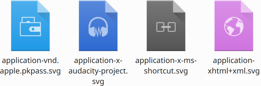 Four file icons, different colored paper sheets with an icon in the middle: Apple Wallet (skyblue with a stylized wallet), Audacity (dark blue with audacity logo (headphones with lightning between them)), Windows link (LNK) file (dark gray with stylized chainlink), XHTML (purple with a globe)