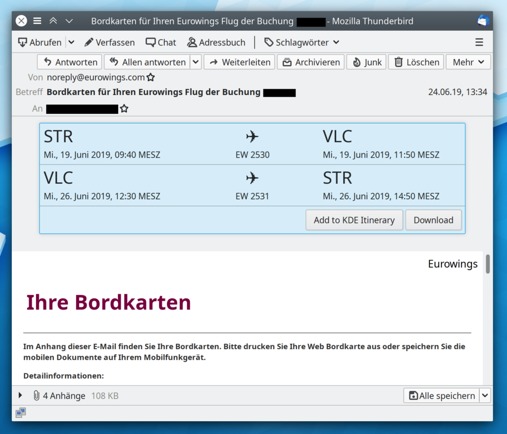 A Thunderbird email window showing an airline boarding pass email with additional information about the trip (departure and arrival airports and times) added by KDE Itinerary