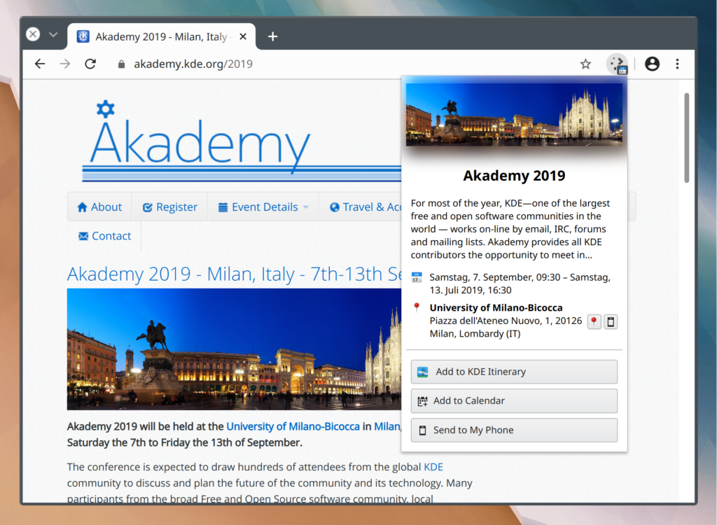 A browser window with akademy.kde.org/2019 website shown and a browser extension popup ontop of it with information about the event the website is showing