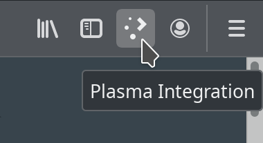 "Dark browser toolbar with various light icons, including the Plasma one being hovered by the mouse cursor with a tooltip that reads ""Plasma Integration"""