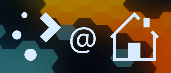 Plasma logo, at sign, house icon, in front of the colorful Plasma 5.19 wallpaper (hexagonal patterns with green, orange, black)