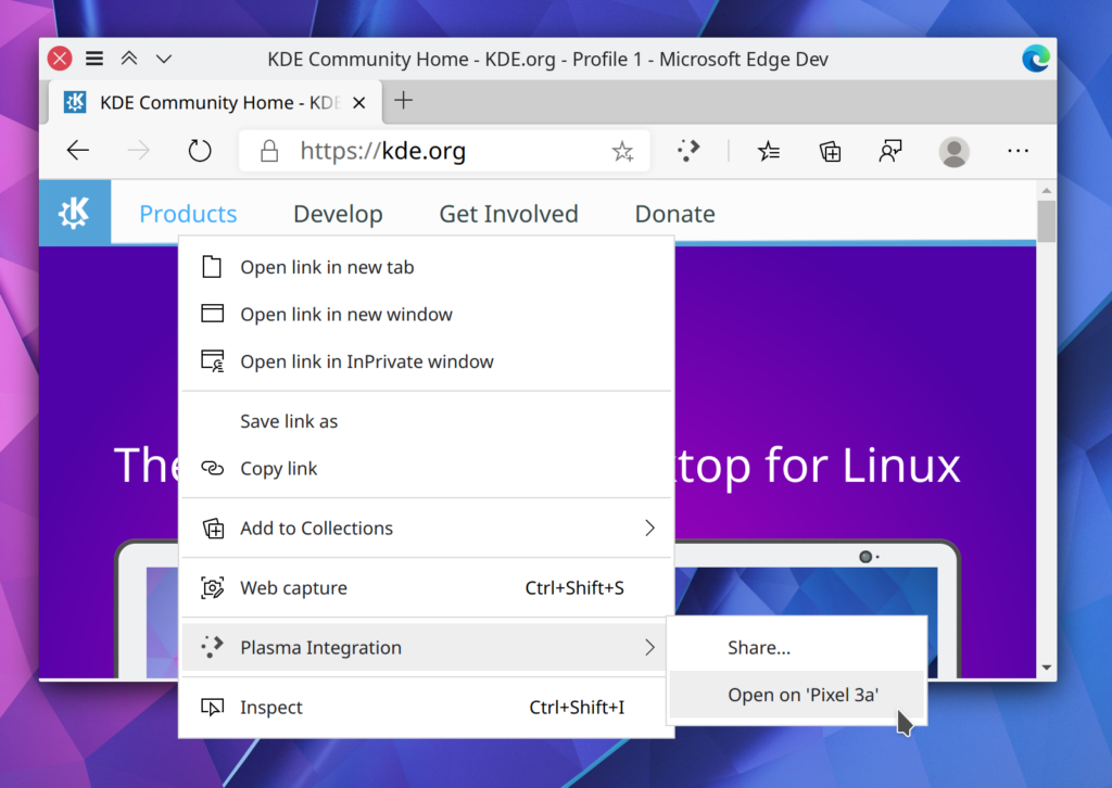 "Microsoft Edge Dev window with kde.org website and context menu opening, showcasing Plasma Browser Integration's ""Share"" and KDE Connect features from the context menu"