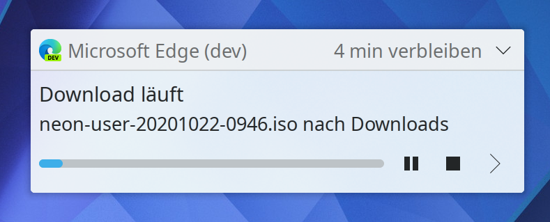 "Plasma notification popup showing the download progress of a file with ""Microsoft Edge (dev)"" as application name"