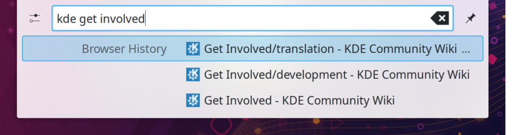 """KRunner (Run command window) showing results from the user's browser history for the search term """"kde get involved"""", listing several KDE wiki pages on that topic"""