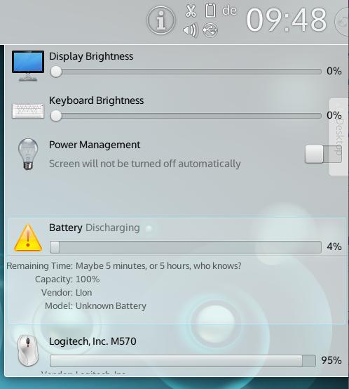 KDE Plasma 4.11 battery monitor popup prototype