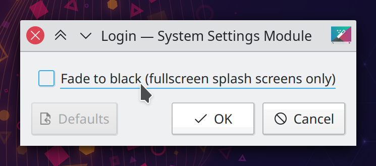 "A dialog box titled ""Login – System Settings Module"" with a single check box labeled ""Fade to black (fullscreen splash screens only)"""