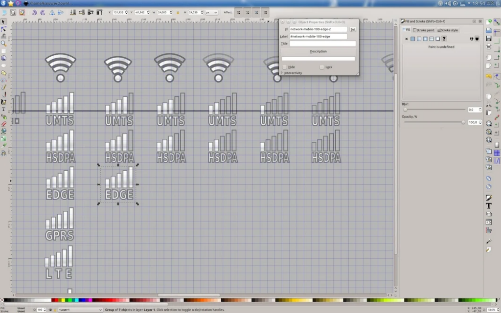 Inkscape (vector graphics editor) window with WiFi and mobile broadband signal strength bars being drawn