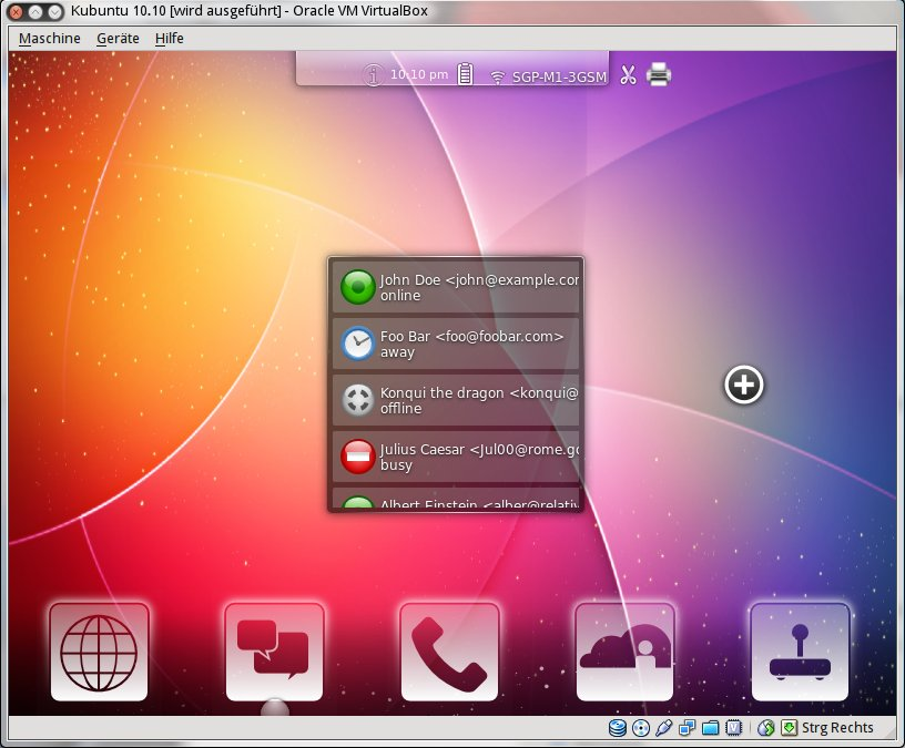 A virtual machine window with an early Plasma mobile UI: a status bar with clock, battery, signal strength at the top, a contact list in the center, and app shortcuts at the bottom
